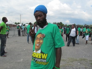 Supporter of JLP Leader Andrew Holness Photo by DJ Miller