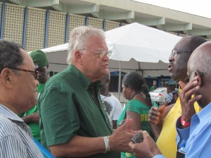 Karl Samuda talks to commentators  Photo by DJ Miller
