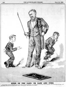 1888 cartoon depicting J.S. Kerr, an Australian proponent of punishment by caning - Wikipedia